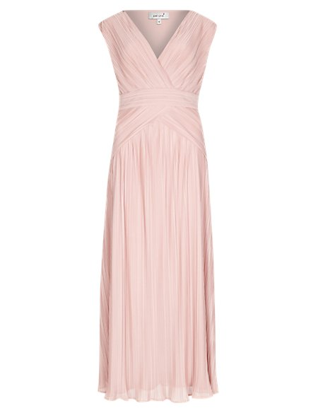 Plisse Pleated Maxi Dress