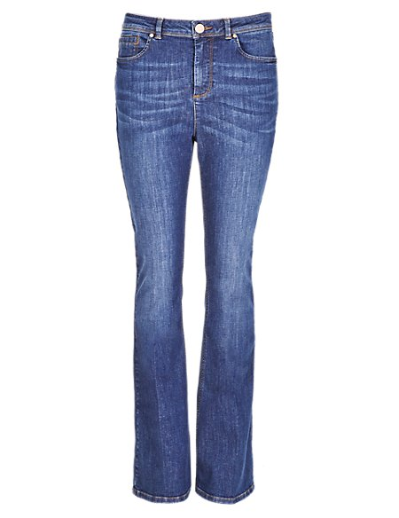 Roma Rise Washed Look Kickflare Jeans