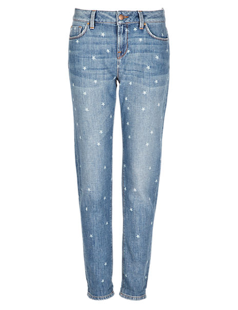 Star Print Girlfriend Jeans