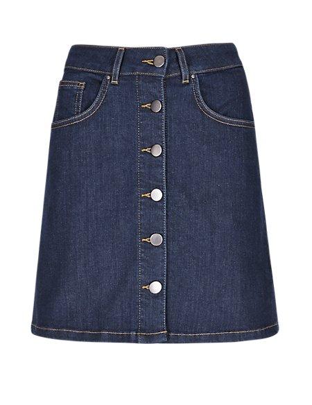 Button Denim A-Line Mini Skirt
