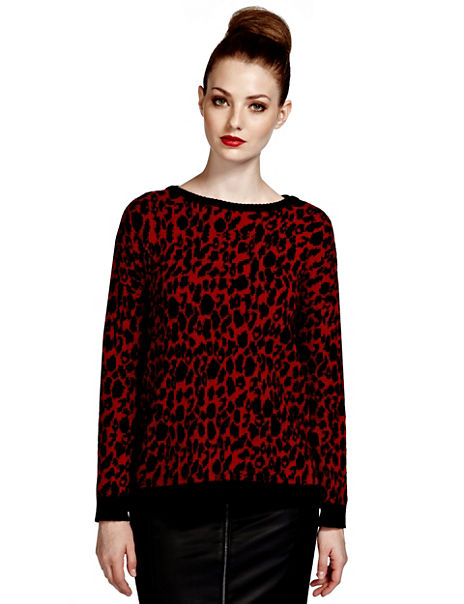 Animal Print Knitted Top with Angora