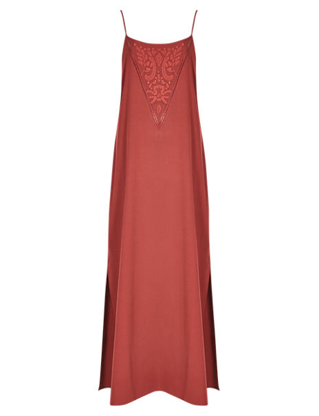 Scoop Neck Embroidered Maxi Dress