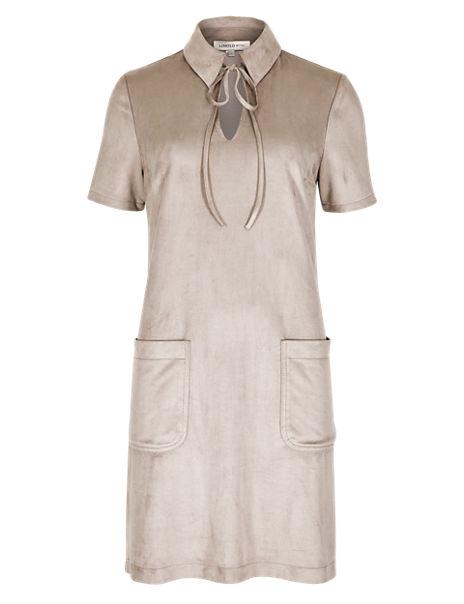 Collared Neck Short Sleeve Shirt Dress