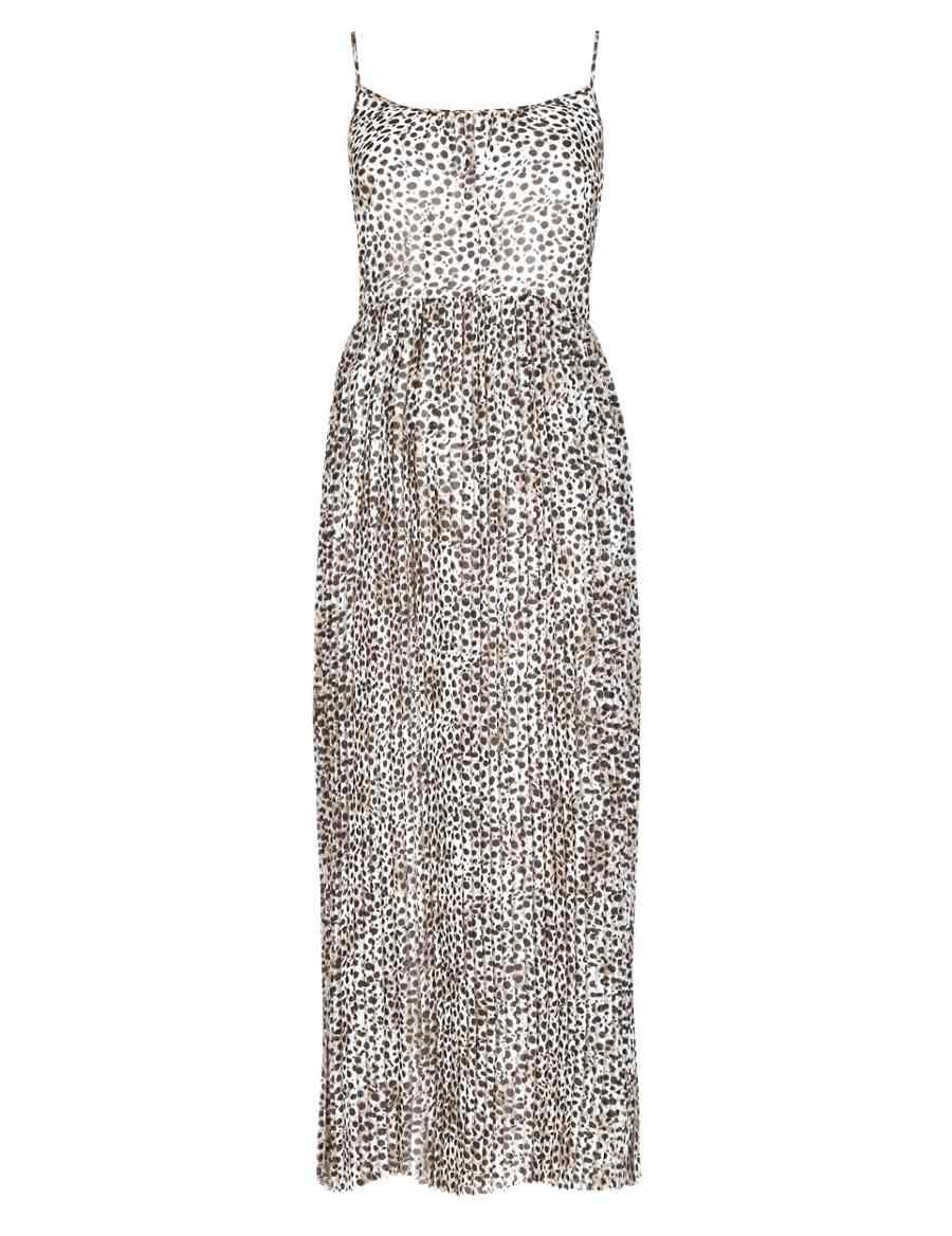 M Leopard Dress Maxi amp;s Pleated Print Limited Edition xCTqF
