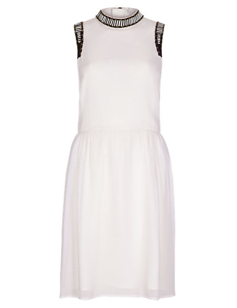 Fit & Flare Embellished Trim Dress