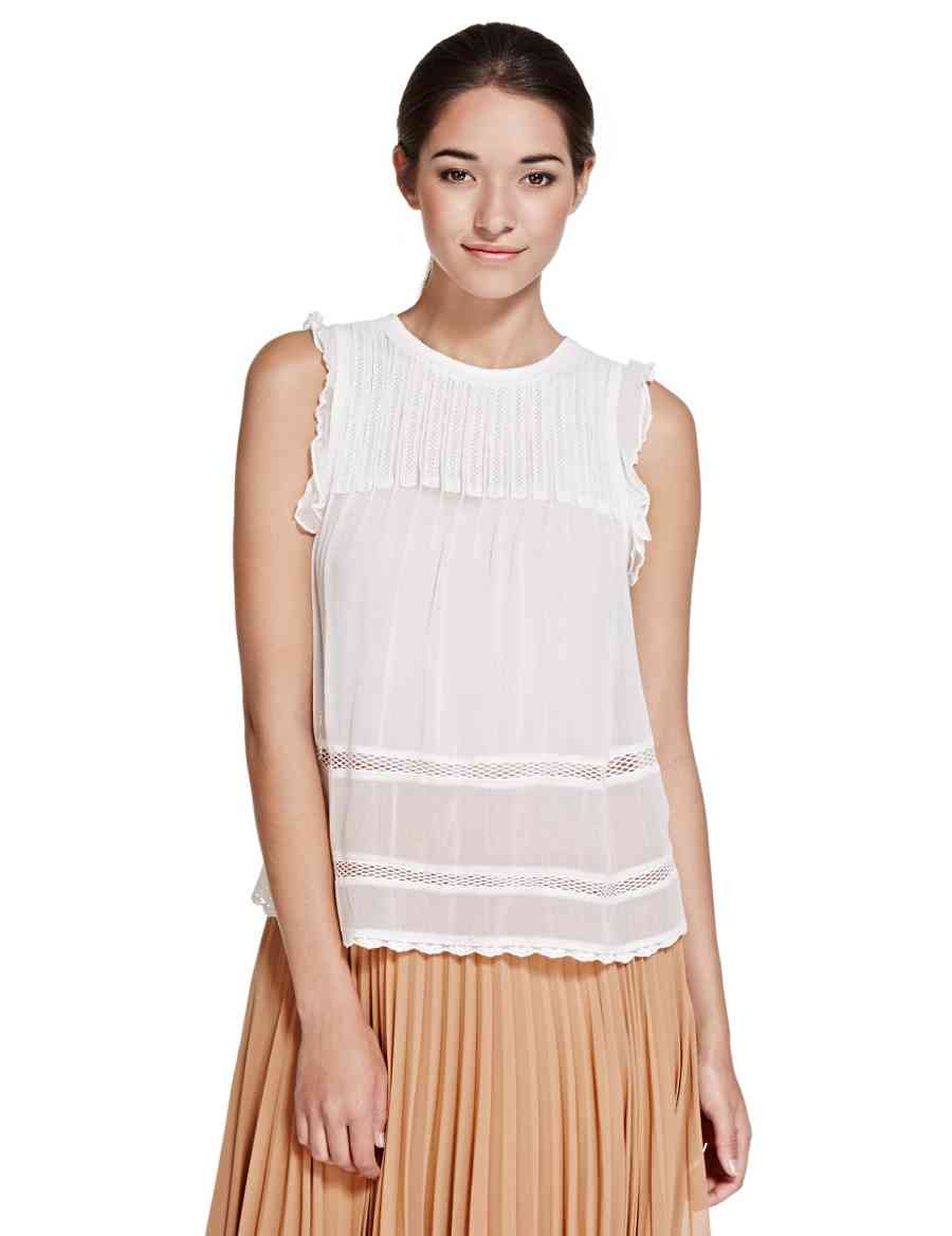 bc4b9f7c952c4 Lace Trim Sleeveless Blouse