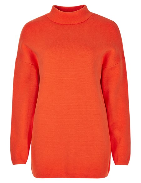 Pure Cotton Polo Neck Jumper