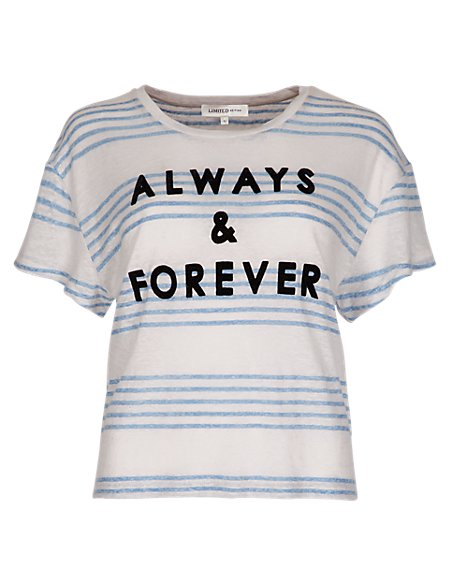Linen Rich 'Always & Forever' Slogan Striped T-Shirt