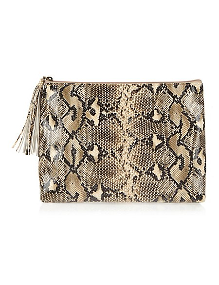 Faux Snakeskin Wash Bag