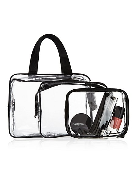 Outstanding Value 3 Piece Clear Cosmetic Bag Set M Amp S