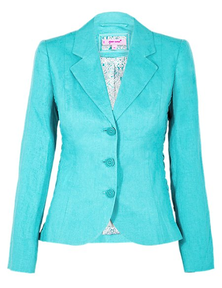 Linen Jacket with ruching detail on side panels