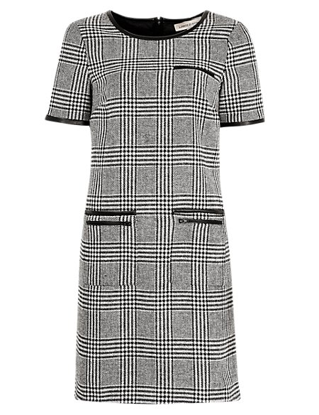 Checked Shift Dress with Wool