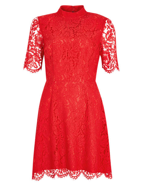 Baroque Lace Fit & Flare Dress