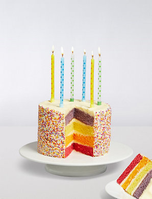 Sensational Rainbow Birthday Cake With Candles Gift Ms Personalised Birthday Cards Veneteletsinfo