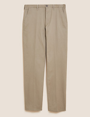 MEN`S NEW M/&S COTTON STRETCH SLIM FIT SMART CASUAL CHINO TROUSERS