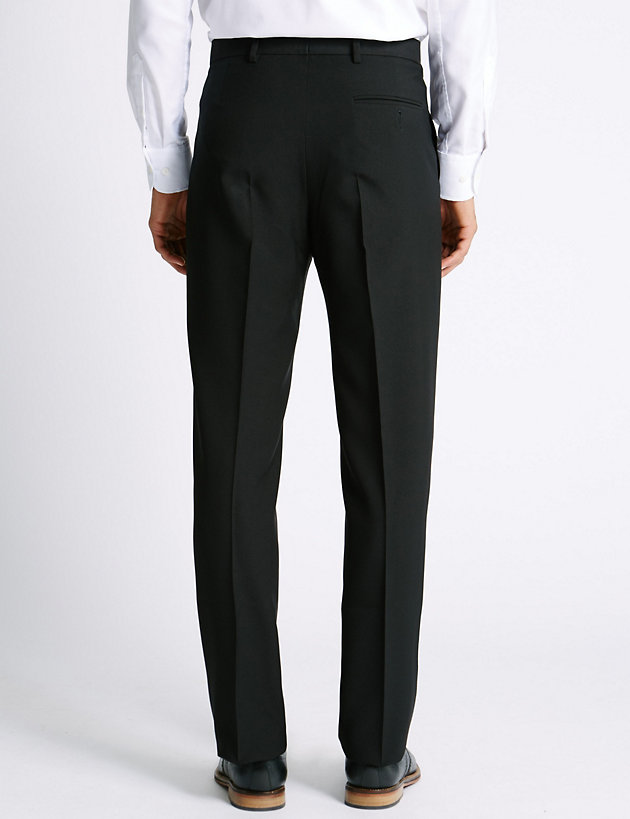 Mens Pant Flat Front Big /& Tall No Iron Wrinkle Fee Black or Navy