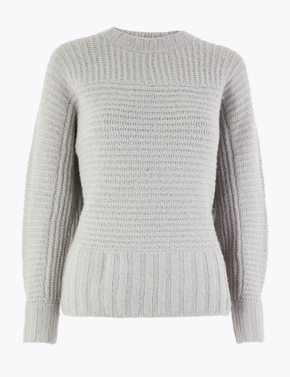 aliexpress closer at the latest Ribbed Alpaca Blend Dolman Jumper | M&S Collection | M&S