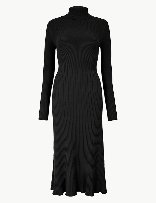Ribbed Fit & Flare Knitted Dress