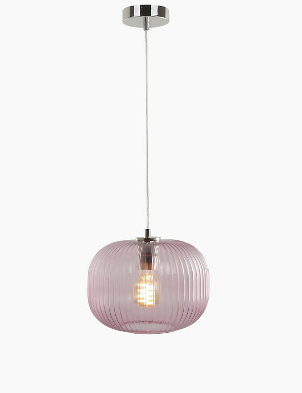 Ribbed Glass Ball Pendant Light M S
