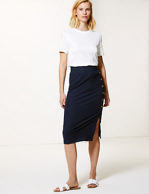 c86dba74be Ribbed Jersey Pencil Midi Skirt | M&S Collection | M&S