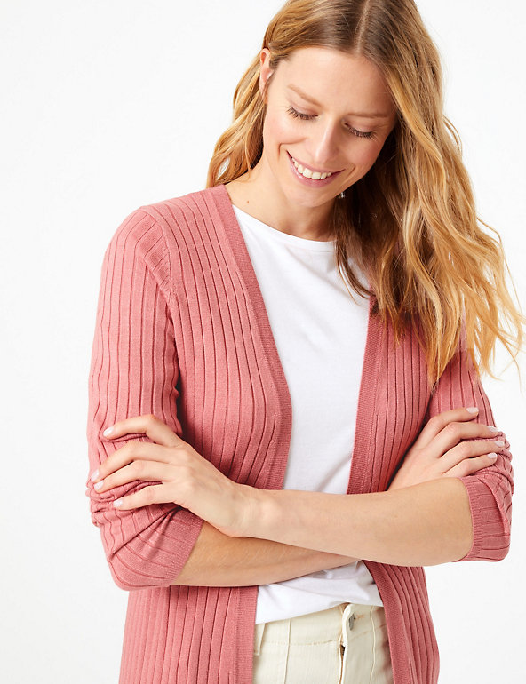 Ribbed Longline Cardigan | M&S Collection | M&S