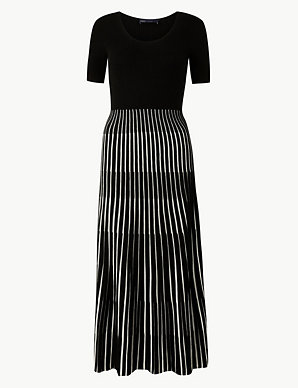 82d6ecada680 Ribbed Striped Knitted Dress | M&S Collection | M&S