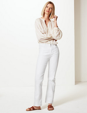M/&S Per Una Roma Rise Cotton Trousers Black size 14