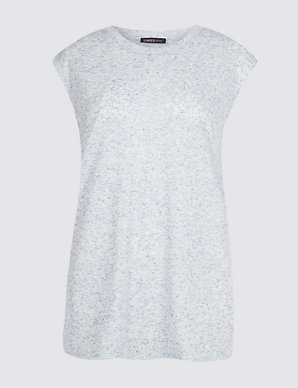 8dcac90e0 Round Neck Cap Sleeve T-Shirt with Linen   Limited Edition   M&S