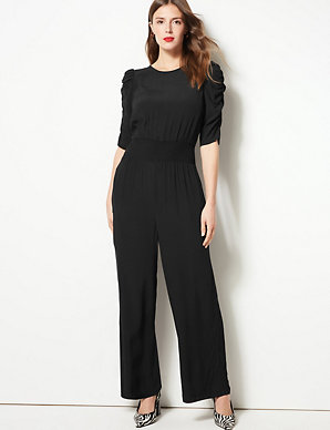 new style & luxury big discount of 2019 On Clearance Round Neck Half Sleeve Waisted Jumpsuit