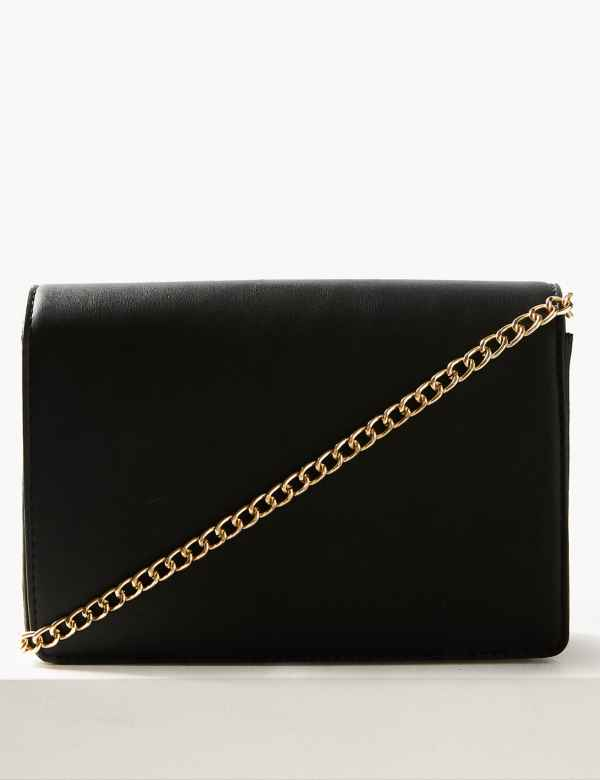 85d6709b737 Fold Over Chain Clutch Bag