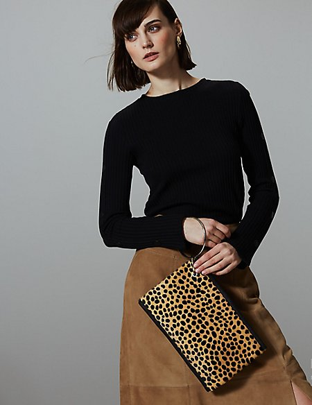 Leather Hair Hide Clutch Purse