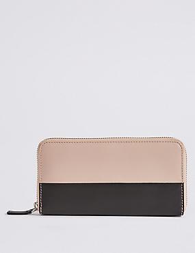 Leather Colour Block Zipped Purse
