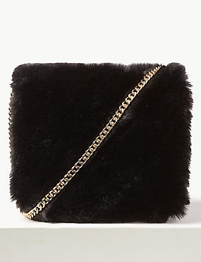 Faux Fur Boxy Clutch Bag