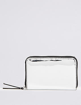 Faux Leather Zip Around Purse