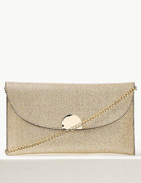 Fold Over Chain Clutch Bag