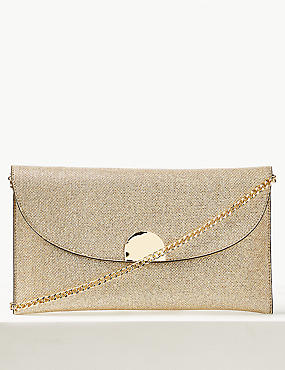 Fold Over Chain Clutch Bag