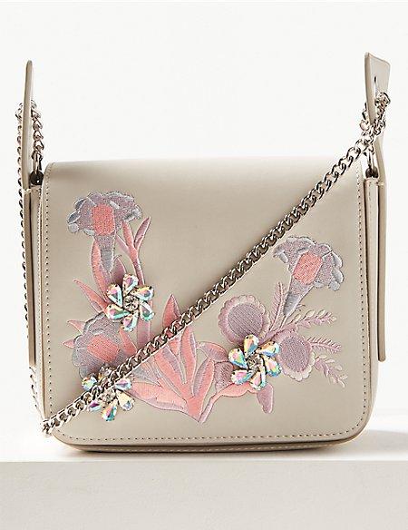 Faux Leather Embellished Shoulder Bag