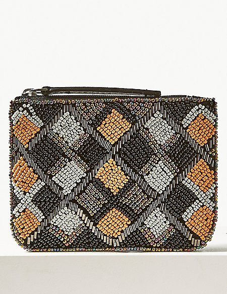 Pure Cotton Embellished Coin Purse