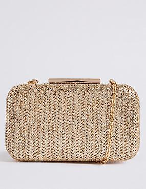 Woven Box Clutch Bag