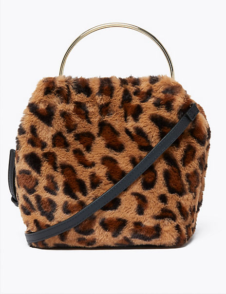 Faux Fur Leopard Print Crossbody Bag