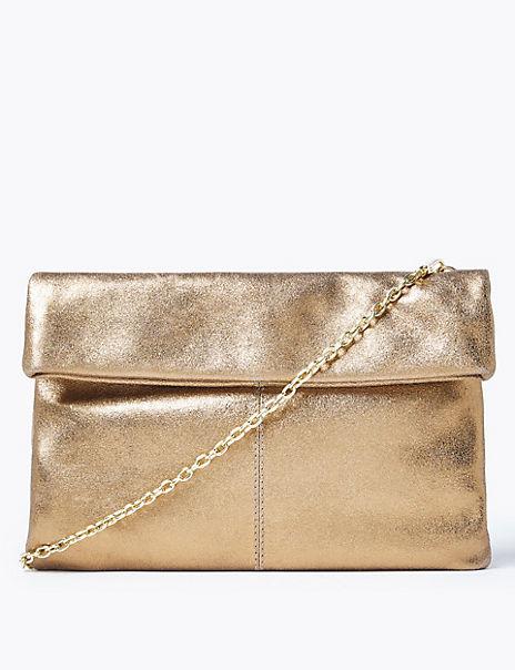 Leather Metallic Foldover Clutch Bag