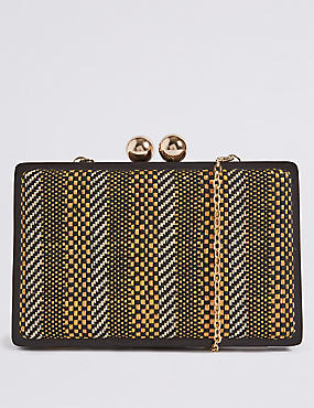 Woven Striped Clutch Bag