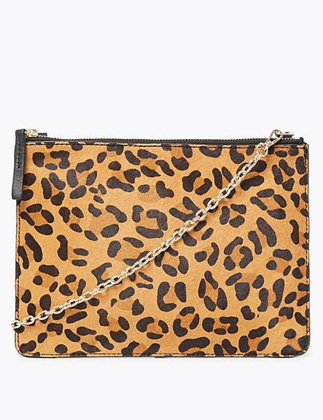 Leather Leopard Print Shoulder Bag