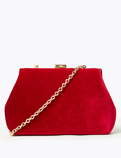 Velvet Chain Strap Shoulder Bag