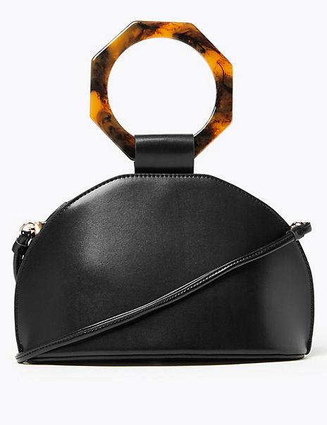 Hexagon Handle Dome Cross Body Bag