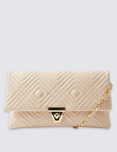 Faux Leather Geometric Design Clutch Bag