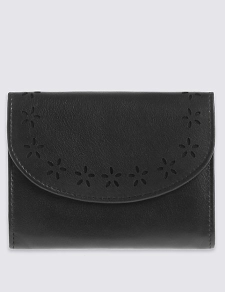 Leather Floral Cut-Out Purse with Cardsafe™