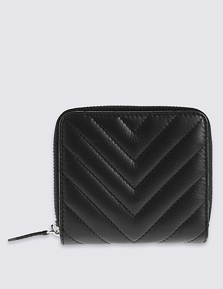 Leather Quilted Zip Around Purse with Cardsafe™