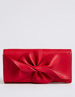 Faux Leather Bow Detail Purse
