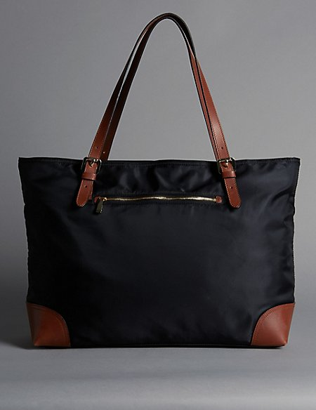 Leather Trim Double Handle Large Tote Bag